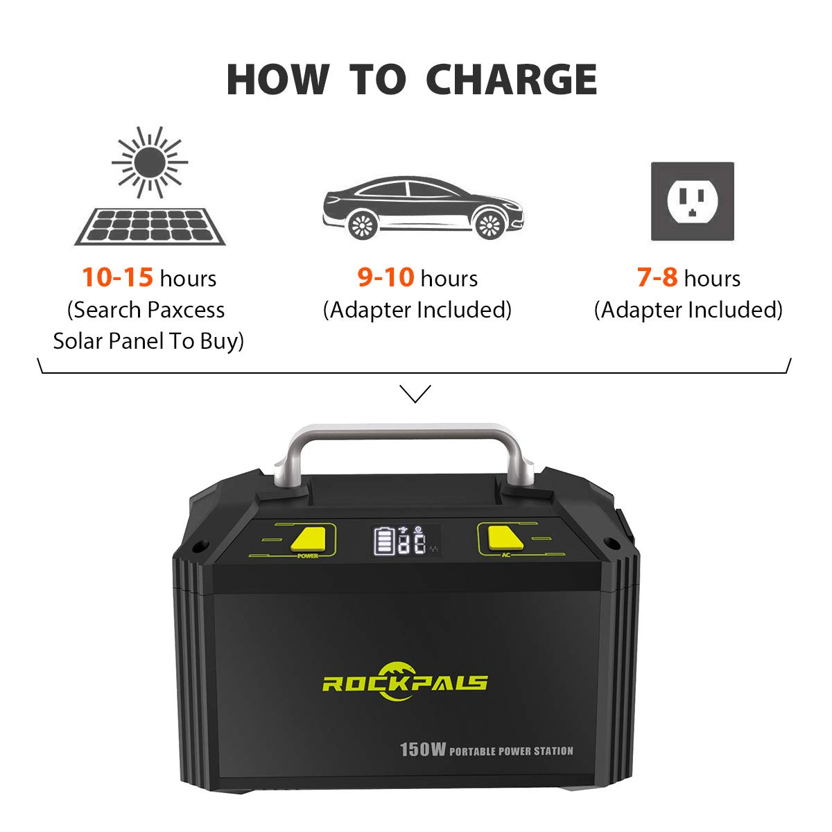 ROCKPALS 178Wh 48000mAh Portable Generator CPAP Battery Pack for Camping, 150W Solar Power Generator Power Station with 110V AC Outlet, 12V Car, USB Output for Home Emergency Backup by ROCKPALS (Image #5)