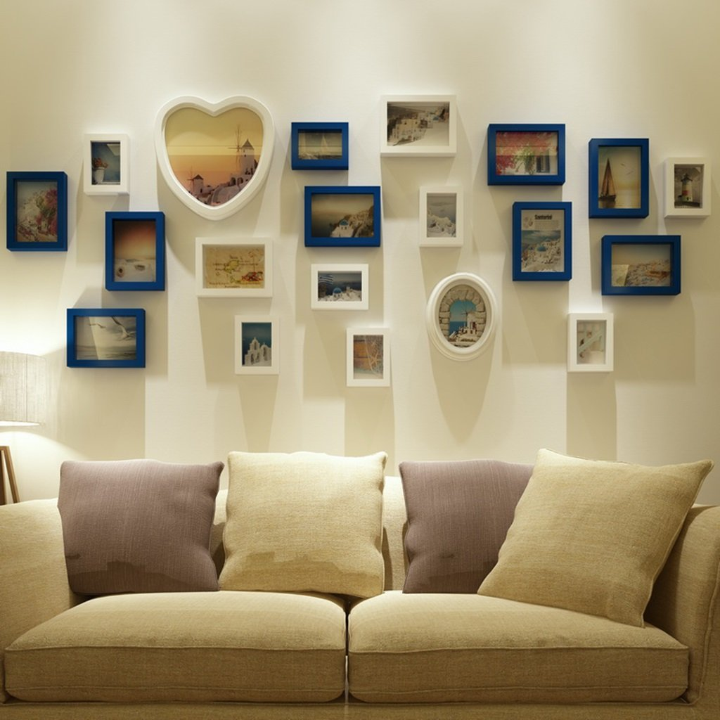 ZGP Home@Wall photo frame Solid Wood Living Room Wedding Photo Wall Love Heart Shaped Modern Children Bedroom Photo Wall Photo Frame (Color : B)