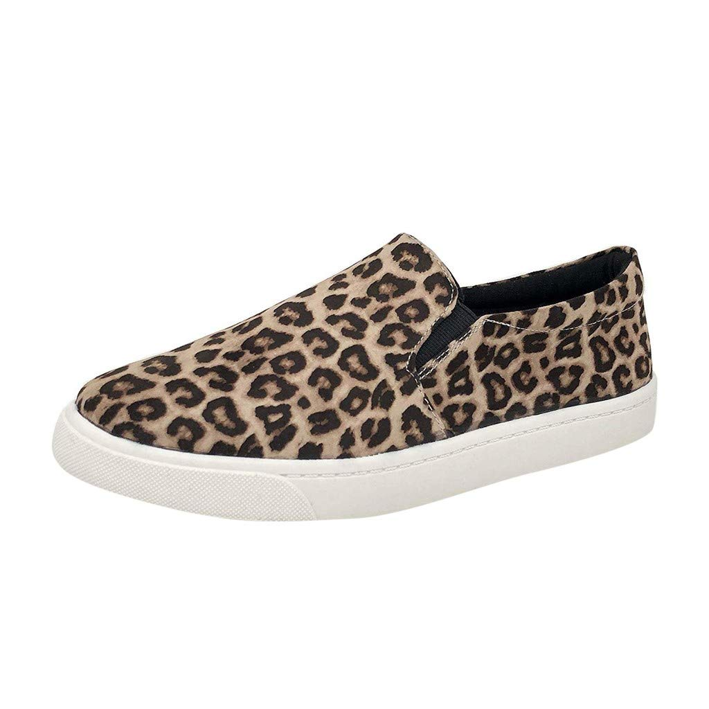 Women New Leopard Print Shoes Light Canvas Anti-Slip Soft Sneaker Lazy Lightweight Running Flat Round Toe Casual Single Shoes Yourgod Fashion Retro Loafers