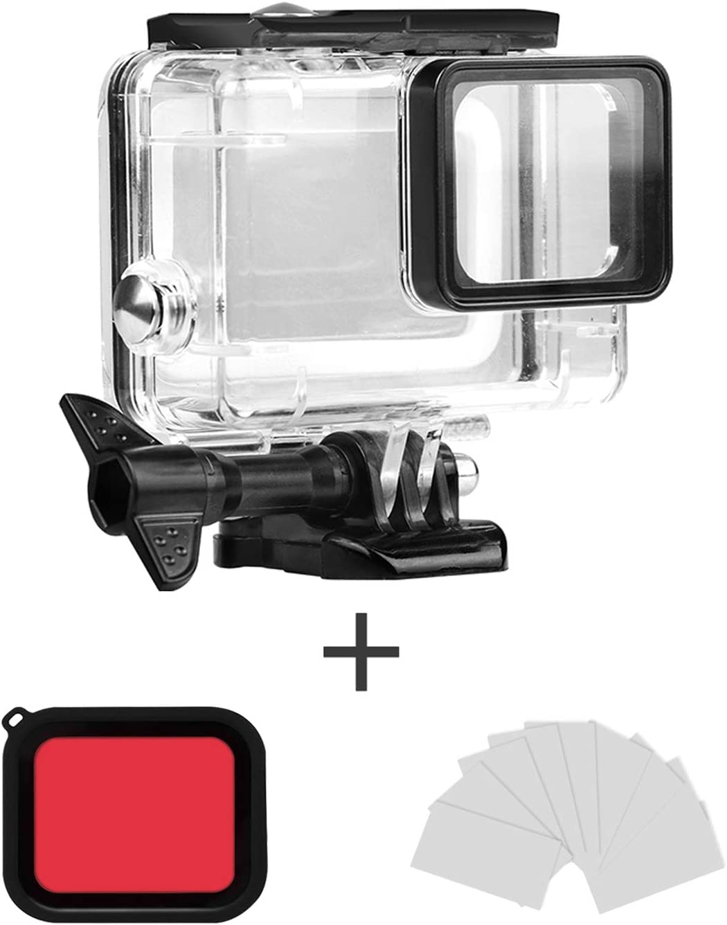 FINEST+ Waterproof Housing Shell for GoPro Hero 7/2018/6/5 Black Diving Protective Housing Case 45m with Red Filter and Bracket Accessories for Go Pro Hero7/2018/6/5 Action Camera