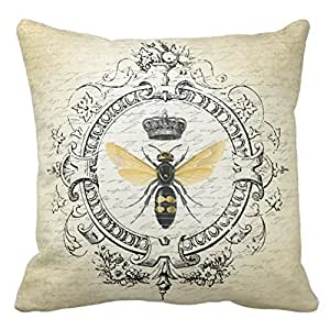 Cotton 16 X 16 Twin Sides Modern Vintage French Queen Bee Throw Pillowcases