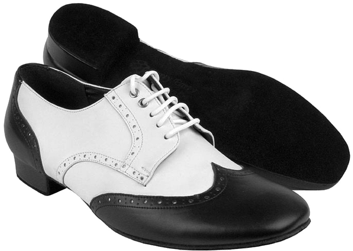 Bundle Lightweight Very Fine Mens Ballroom Salsa Latin Dance Shoes PP301 Leather + Shoe Brush + Pouch Black & White 10.5 M US 1 Inch by Very Fine Dance Shoes