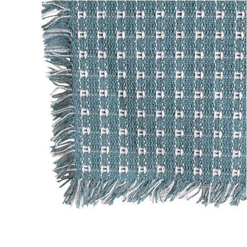 62 x 108 (Rectangle) Homespun Tablecloth, Hand Loomed, 100% Cotton, Wedgewood/White