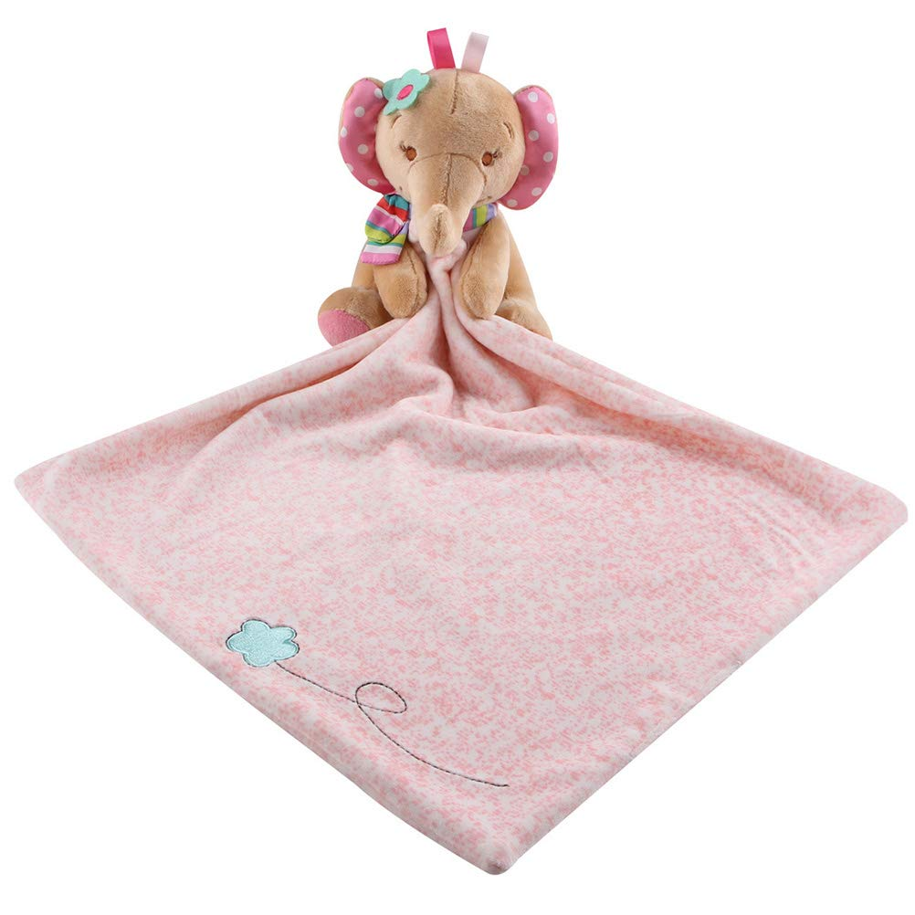 Toyvian Animal Baby Bib Sleeping Appease Toy Newborn Plush Toys Feeding Accessories (Elephant)