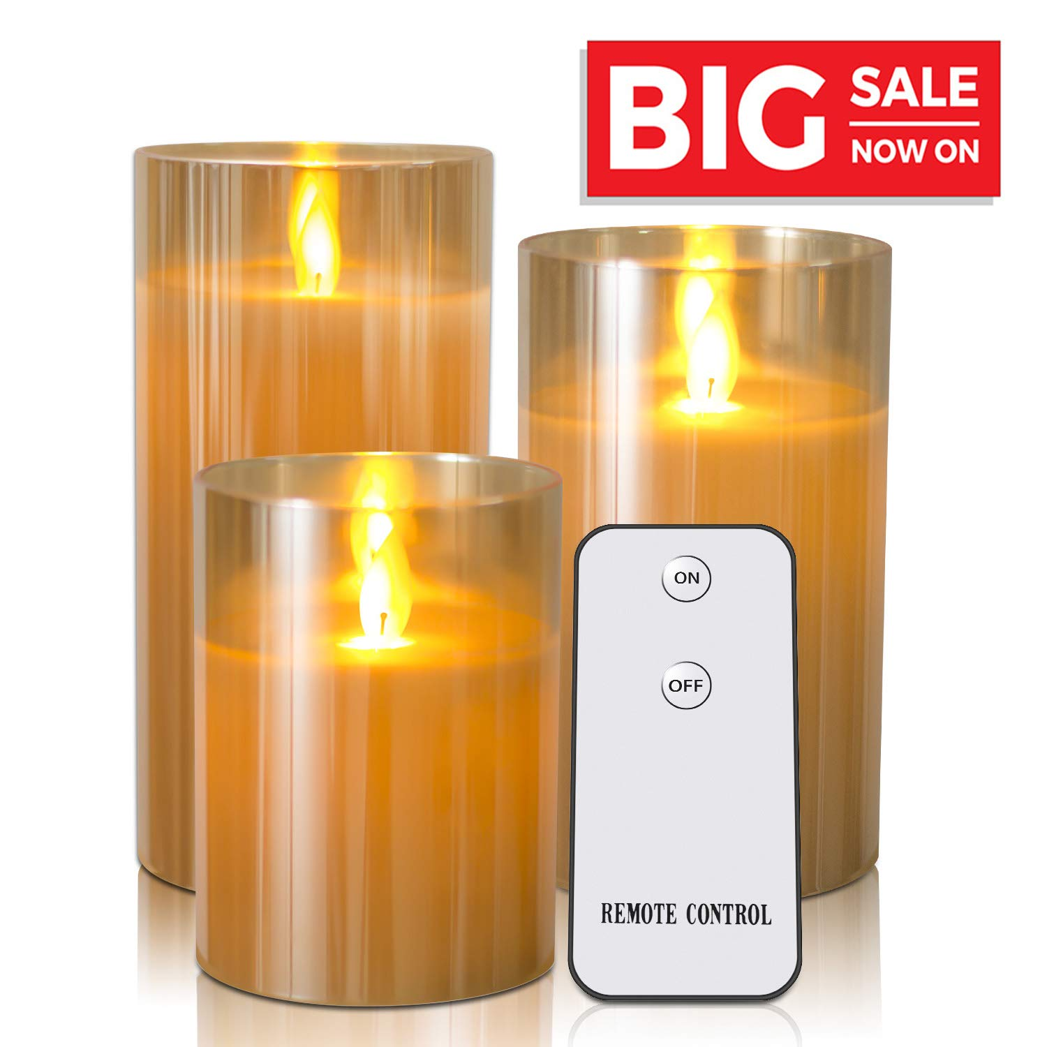 Flameless Candles Flickering With Remote Timers - Kithouse LED Candles Battery Operated Electric Candles - 4'' 5'' 6'' Real Wax Not Plastic Pillar Candles, Set Of 3