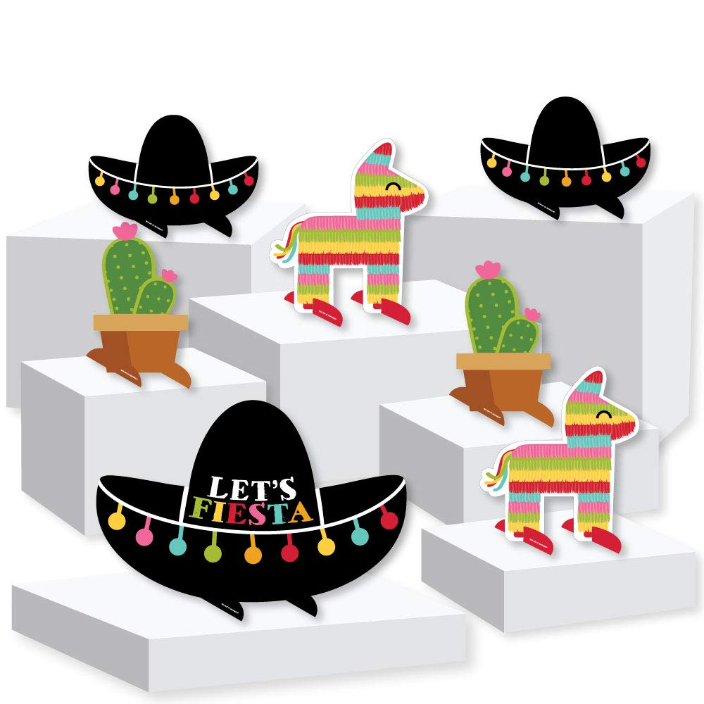 Let's Fiesta - Mexican Fiesta Centerpiece and Buffet Table Decor - Tabletop Standups - Set of 7