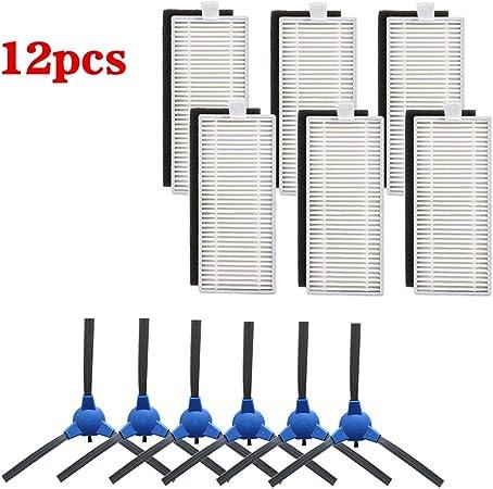 WuYan - Kit de repuesto para aspiradora Eufy Robovac 11S 30 30C 15C 12 piezas, incluye 6 cepillos laterales, 6 filtros HEPA: Amazon.es: Hogar