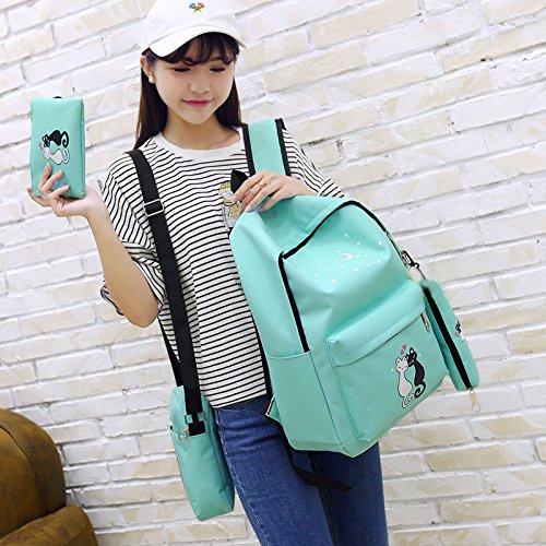 Amazon.com: Qjoy 4 Pcs Teenager Cute Cat Print Backpack Bag Set Unisex School Rucksack Shoulder Bags Pencil Case Sets: Sports & Outdoors