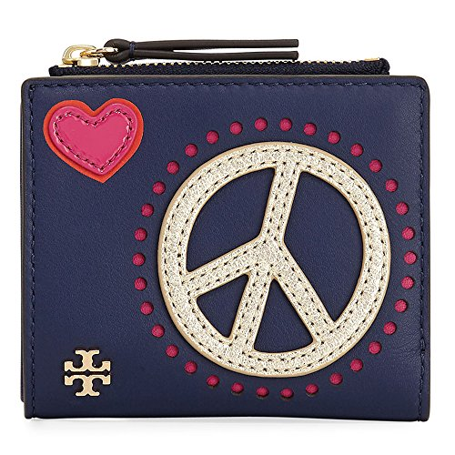 Tory Burch Wallet Coin Case Card Case Peace NAVY Embellished Mini by Tory Burch