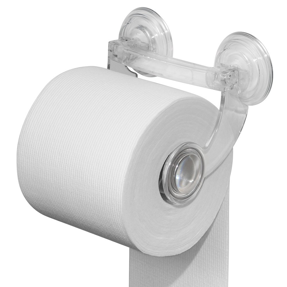 durable modeling mDesign Power Lock Suction Toilet Paper Holder for Bathroom Storage - Clear