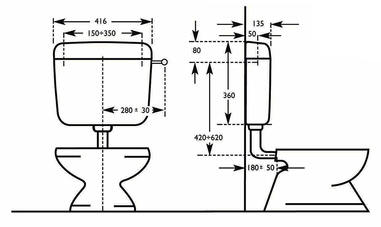 Negrari 1000S2 Sfera 2 Cassetta WC a Zaino capacit/à 9 Litri ABS Bianco