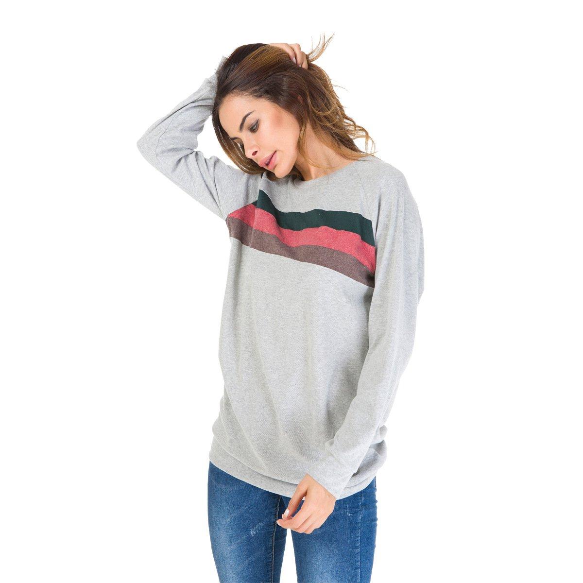 Womens Crewneck Color Block Long Sleeve Loose Casual Sweatshirt Top