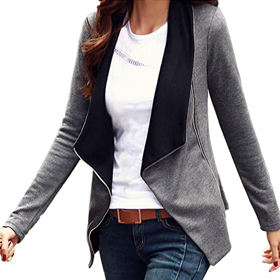 Amazon.com: AOJIAN Women Jacket Long Sleeve Outwear Oblique Zipper Slim Lady Fit Tops Coat: Clothing