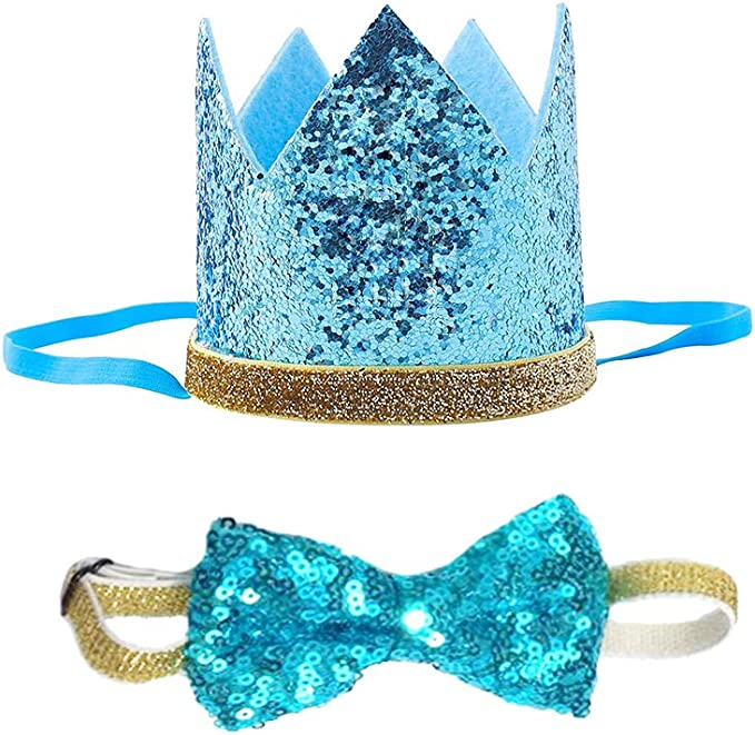 Blue POSAPET Cat Dog Birthday Crown Hat and Bow Tie Collar Set Pet Boy Birthday Party Supplies