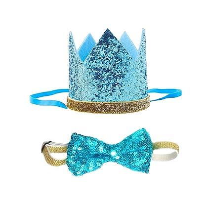 Petsidea Cute Pet Birthday Crown Hat Bow Tie Collar Set Dog Cat Party Supplies