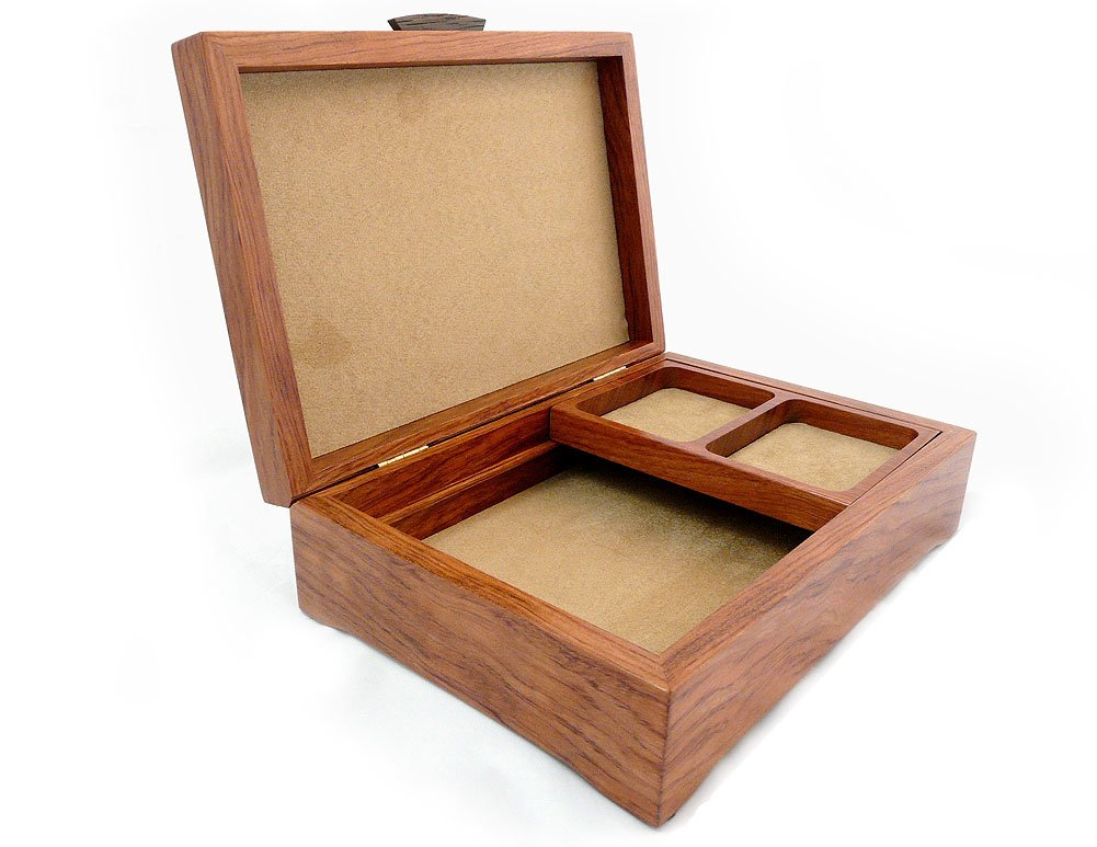 Burl Walnut and Sapele Handcrafted Hardwood Valet Box, 10.5'' x 7.25'' by Modern Artisans (Image #3)