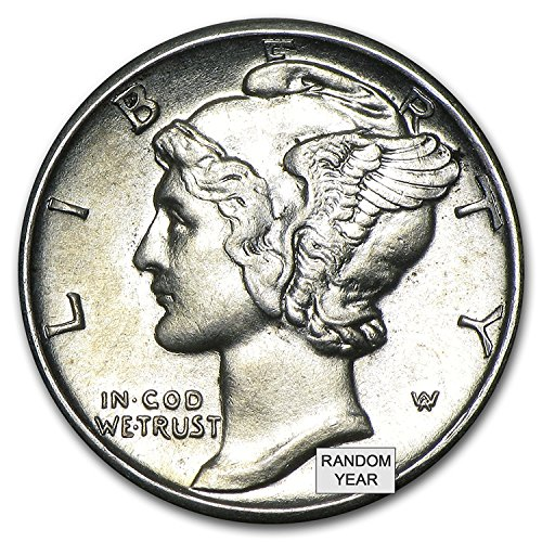 1916 – 1945 90% Silver Mercury Dimes BU (Mixed Dates and Mint Marks) .10c Dime Brilliant Uncirculated