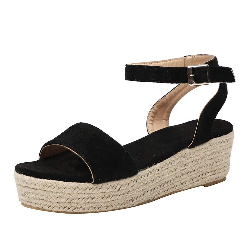 Thenxin Women' Leopard Strap Ankle Buckle Platform Wedges Ladies Woven Roman Shoes (Black,6 US) by Thenxin