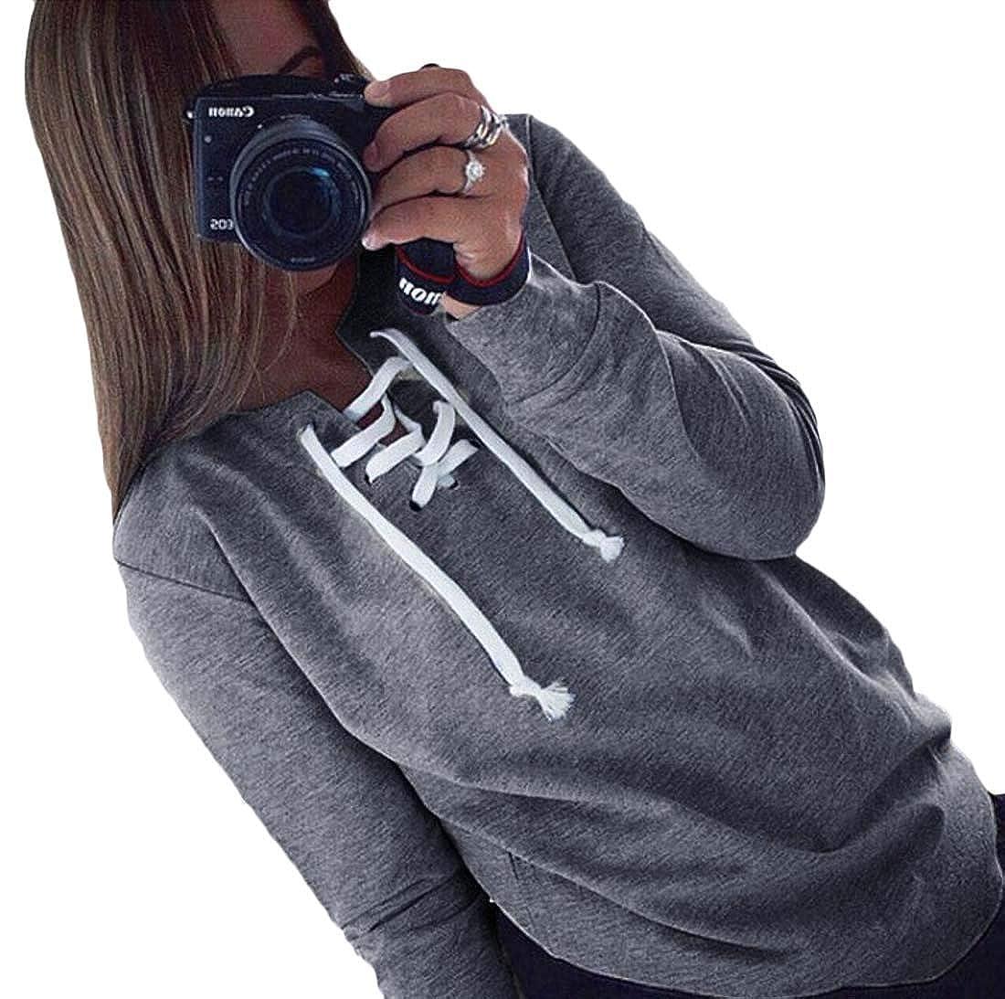Zantt Womens Lace Up Plain V-Neck Long Sleeve Pullover Sweatshirt Tops