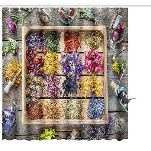 MuaToo Shower Curtain healing herbs in wooden box on table herbal medicine top view flat lay Graphic Print Polyester Fabric Bathroom Decor Sets with Hooks 72 x 72 Inches