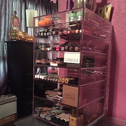 GlamoureBox Acrylic Cosmetic Cube Organizer Makeup Case 7-Drawer (A7R) by AMERICAN ACRYLIC DISPLAY INC.
