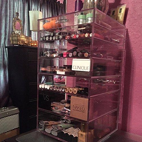 GlamoureBox Acrylic Cosmetic Cube Organizer Makeup Case 7-Drawer (A7R) (Kardashian Makeup Organizer)
