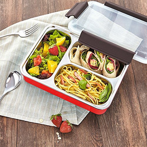 HOMESPON Bento Boxes Stainless Steel Lunch Boxes with Compartments Insulated Water Heating Food Containersfor Kids, Adults, School, Office, Work, BPA Free-Three Color (3 Compartments/Red)