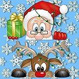 Vetrofanie Babbo Natale e la renna Rudolph che fanno capolino – Con 25 fiocchi di neve – Fantastiche decorazioni natalizie