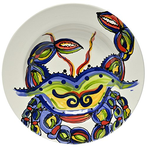 Christmas Tablescape Décor - Ceramic whimsical and vibrant crab multicolor design soup/salad bowl by Dana Wittmann