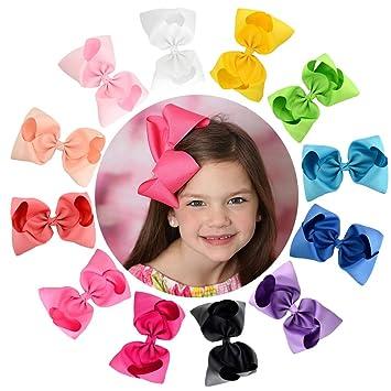 50074753a1a17 12pcs Hair Bows for Girls 6 quot  Big Boutique Bow Alligator Clips  Grosgrain Ribbon Hair Accessories