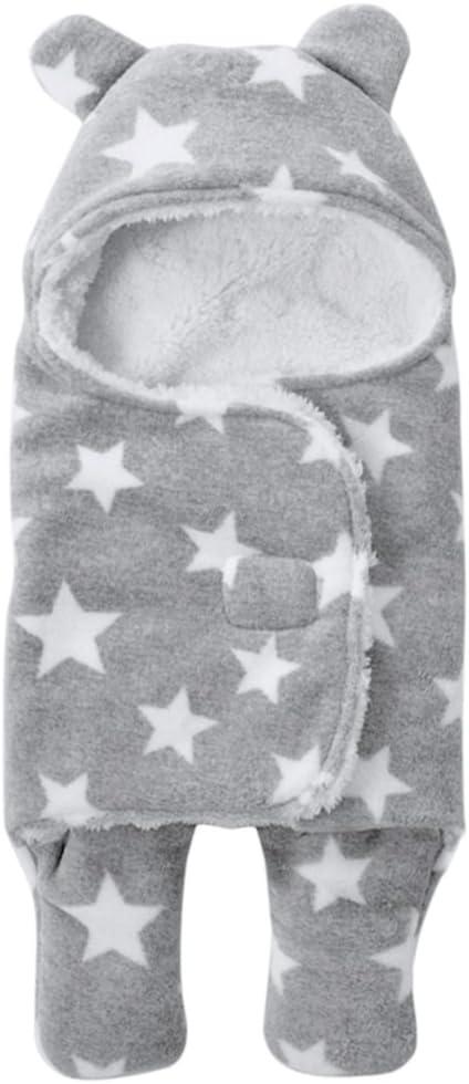 Saco de dormir de coralina para reci/én nacidos con capucha y pies; c/álido y grueso para ni/ño y ni/ña gris gris Talla:65*75CM de 65/x/75/cm para oto/ño e invierno