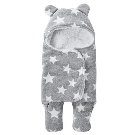 Saco de dormir de coralina para recién nacidos con capucha y pies; cálido y grueso