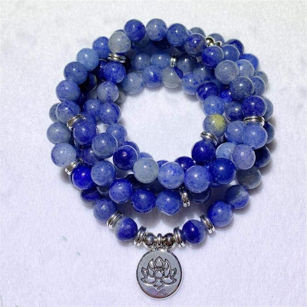 DADATU 8Mm Azul Jade Piedra Preciosa 108 Cuentas Colgante Pulsera Clásico Reiki Hecho A Mano Pulsera Curativa Bendito Muñeca Chakra Elegante Yoga Suerte