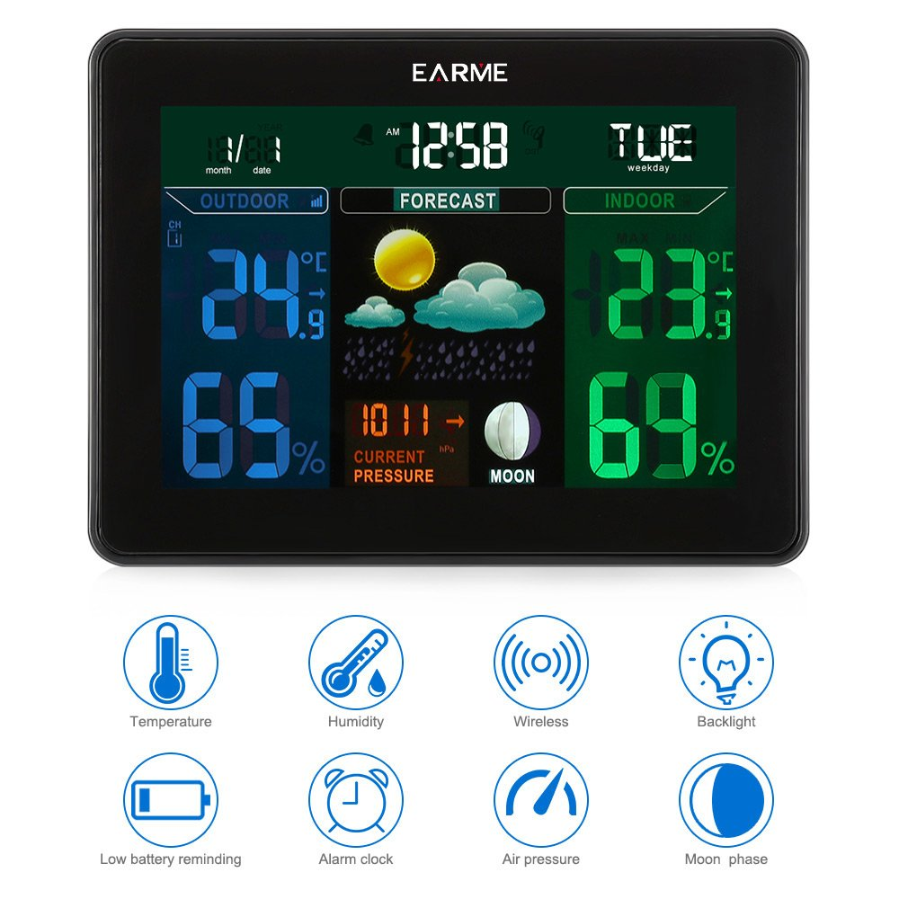 Estación meteorológica con Sensor Externo, Pantalla a Color ...