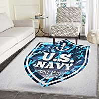 Anchor Anti-Skid Area Rug Military Camouflage with US Navy Since 1882 Uniform Army Force Ship Door Mat Increase 5x6 Blue White Navy Blue