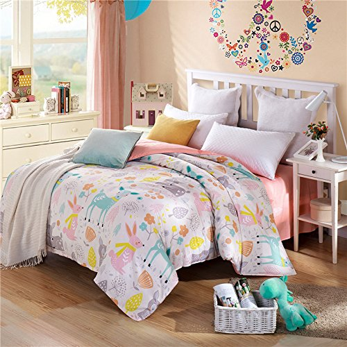 TheFit Paisley Textile Bedding for Adult U793 Pastel Little Deer and Rabbit Duvet Cover Set 100% Cotton, Twin Queen King Set, 3-4 Pieces (Queen)