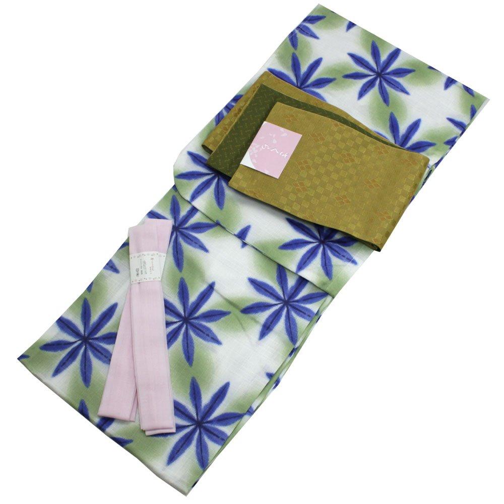 Womens Cotton Yukata 3items set Japanese Summer Kimono Snowflake M size