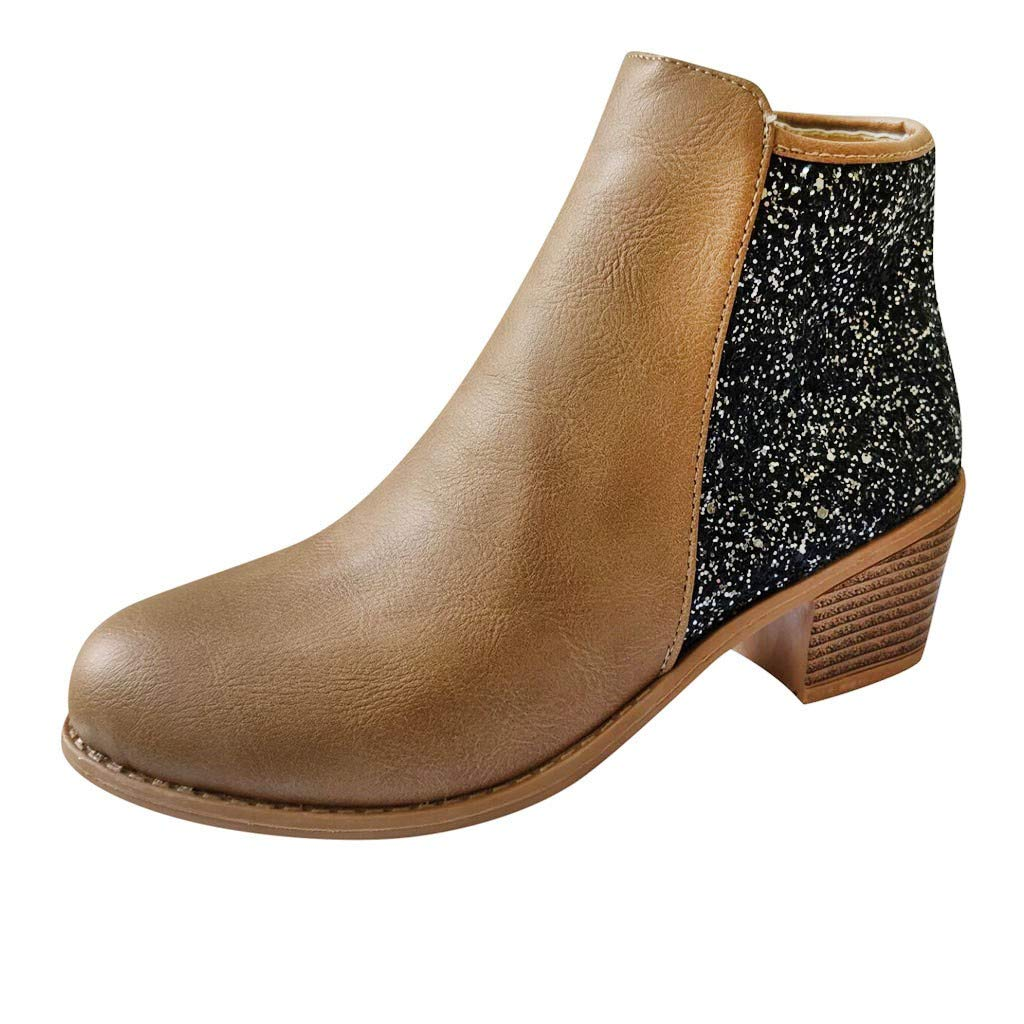 Dermanony Women's Mid-Heel Ankle Boots Fashion Girls Sequins Patchwork Bling Thick Heels Zipper Short Boots Chelsea Boot Brown by Dermanony _Shoes