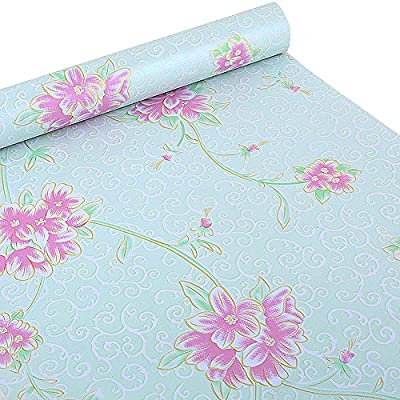 SimpleLife4U Vintage Flower Shelf Liner Dresser Drawer Sticker Self-Adhesive Cabinet Contact Paper 17.7 Inch By 9.8 Feet