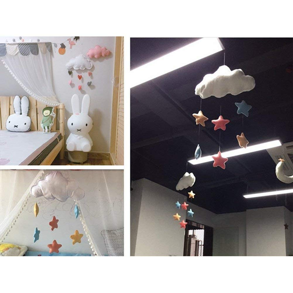 Bclaer72 Ceiling Mobile Hanging Cloud Decorations,Baby Crib Mobile Nursery Ceiling Mobile Developmental Crib Toy Baby Mobile Cloud Decorations Heart Garland for Kids Room Baby Shower