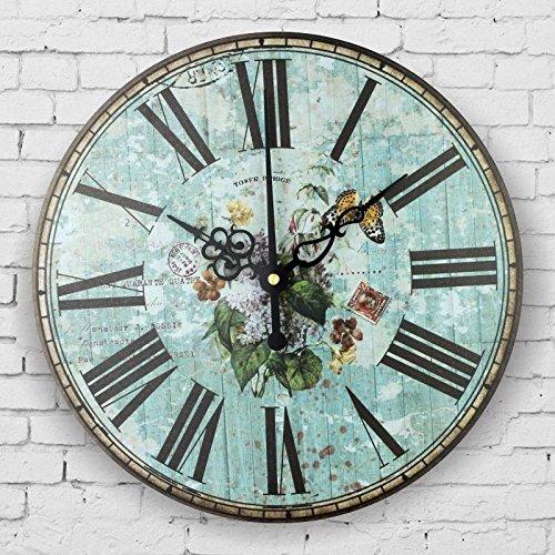 Mediterranean style bedroom decor watch wall retro silent wall clock roman number antique wall decor clocks