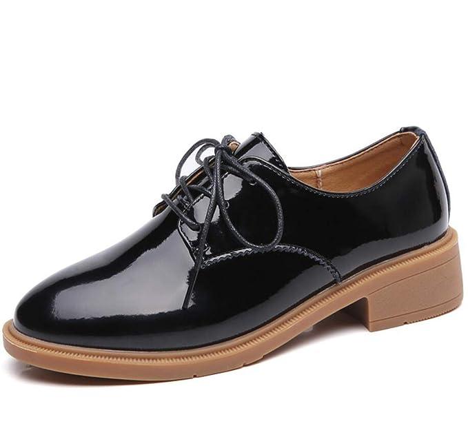 DANDANJIE Zapatos De Mujer Retro Con Cordones Mocasines Moda Otoño Zapatos Casuales Oxford,Black,