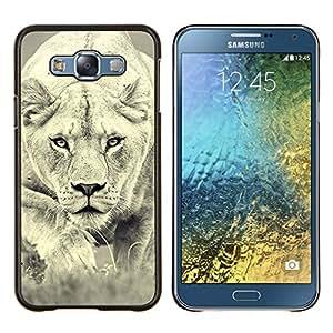"""Be-Star Único Patrón Plástico Duro Fundas Cover Cubre Hard Case Cover Para Samsung Galaxy E7 / SM-E700 ( León Foto Mujer Caza Safary gato grande"""" )"""