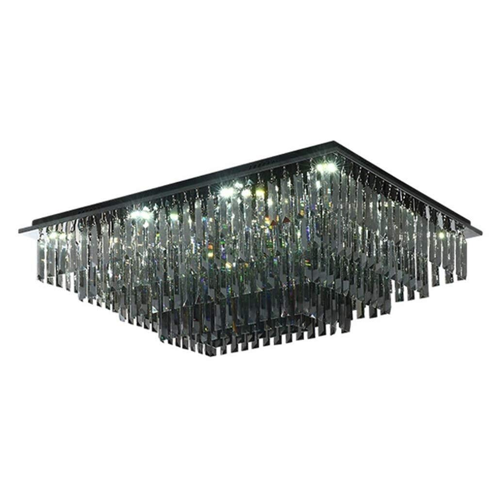 Office Ceiling Lights Square Crystal Shiny Chandeliers Living Room Ceiling Lamp Kitchen Three-Color Dimming Ceiling Lamps Dining Room Light (Color : Black) Energy Level A+++ (Size : 505030cm) by Xk-Ceiling Lights