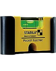STABILA Wasserwaage Pocket Electric, 7 cm, mit Seltenerd-Magnetsystem und Gürtel-Clip