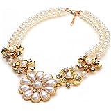 Glitz Designer Fashion Choker Pearl Pendant Statment Necklace for Women/Her/Sister/Mother/Girls