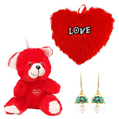 Gomati Ethnic Buy Valentine Gift Pack Red Moments Teddy Heart Shape
