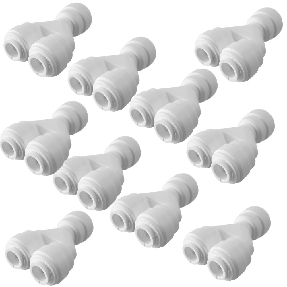 "PureSec 2019 TWS1414 mini white plastic quick fitting Tube divider two way splitter Y shaped connector for tubing OD 1/4"" used for RO system refrigerator ice maker coffee machine Pack of 10)"