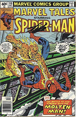 Rare Marvel Comics - AUTOGRAPHED Stan Lee 1979 MARVEL TALES STARRING SPIDER-MAN #110 (Battle with Molten Man) December 1979 Rare Vintage Signed Marvel Comics Group Comic Book with COA