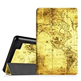 "Fintie SlimShell Case for Fire 7 2015 - Ultra Slim Lightweight Standing Cover for Amazon Fire 7 Tablet (will only fit Fire 7"" Display 5th Generation - 2015 release), Ancient Map"